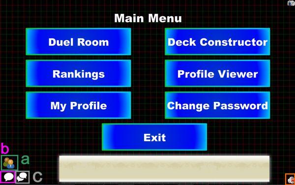 Le menu principal Dueling Network
